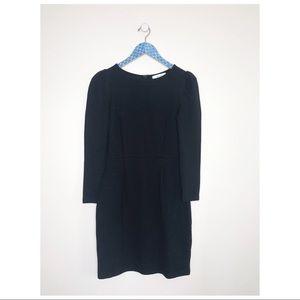 Reiss Puff Shoulder Black Sheath Long Sleeve Dress
